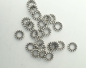 Lead Free Pewter Dotted Ring Spacer Bead   (EF1327)