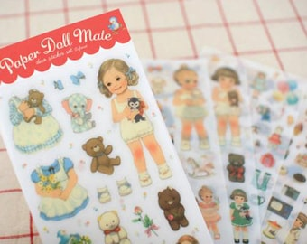 Korea Paper Doll Mate Transparent Sticker - 6 Sheets