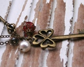 Romantic Elegant Necklace / Woodland Rustic / Heart Key Love Necklace / Chain Necklace / Red Glass Necklace / Smokey Quartz Necklace