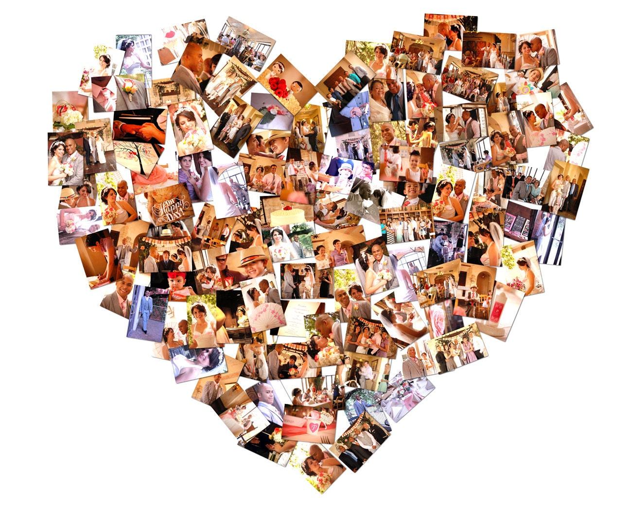 heart collage gift custom canvas mosaic gift heart shape gift. Black Bedroom Furniture Sets. Home Design Ideas