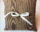 Wood Grain - Ring Bearer Pillow - Walnut Brown and Gold - Cotton Viscose