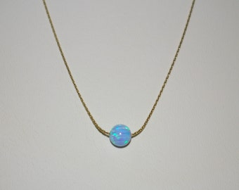 14kt Gold Filled 0.6mm Fine Chain with 6mm Turquoise Blue OPAL BEAD NECKLACE. Free Shipping Worldwide.