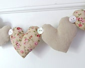 Fabric Heart Garland Pretty Florals And Linen Neutrals - RubyRedcrafts