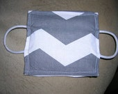 Door Latch Cover for Babys Room  Gray and white chevron