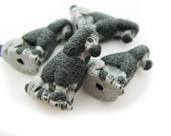 10 Large Sitting Poodle Beads - grey and Black - LG282