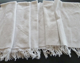 French Art Deco Fringed Woven Pique' Coverlet, Blanket Cover, Throw, Jacquard or Dobby Weave