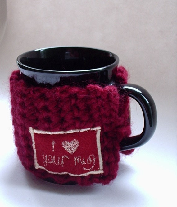 Mug Cozy - Valentine's - Hug-a- Mug -  Crocheted Mug Warmer - I love your mug