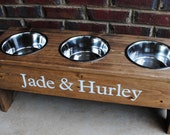 Personalized Raised Dog  Stand Multi-  13 Tall - Three 2 Quart Bowls - turquoiseangels