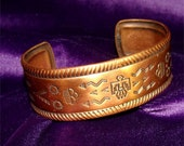 RESERVE for Kelsie // Solid COPPER Navajo Cuff BRACELET with Thunderbird and Rain