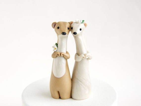 Weasel Wedding - Spring Wedding Cake Topper - Handmade by Bonjour Poupette