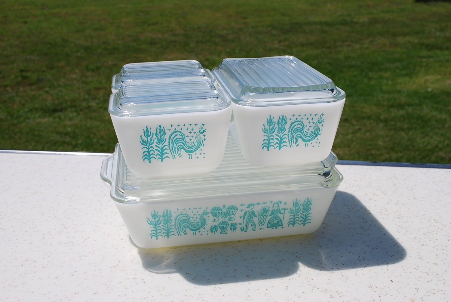 Four dish set of pyrex amish butterprint by aglimpsefromthepast