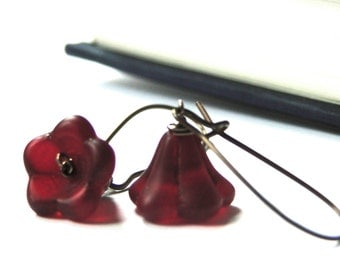 CRAZY SALE Earrings Dangle Earrings Red Wine Trumpet Flower Earrings Ox Blood Flower Earrings, Gift for Her, Accessories, Stocking Stuffer