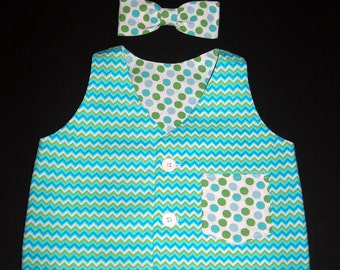 Baby Boy's Vest and Bow Tie, Size 12M, Special Occasion,  Ready to Ship