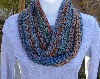 Women's Skinny INFINITY LOOP SCARF Small Rust Blue Gold Red Teal Soft Crochet Knit Summer Endless Cowl, Neck Warmer..Ready to Ship in 2 Days