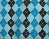 Striking Argyle Knit Fabric Bonded Cotton Back Turquoise Blue Black Upholstery Pillows  1/2 Yard x 56 inches wide
