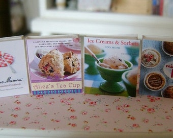 BAKING COOKBOOKS - Bonne Maman Pies Tea Ice Cream - Dollhouse Miniature 1:12 Scale