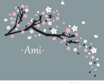 Wall decal Cherry blossom branch-custom colors and name -perfect room decoration