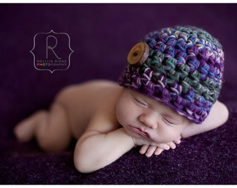 Newborn Button Beanie Hat Purple Green Beige Blue