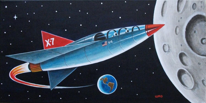 8 1 2 X 14 Retro Moon Rocket Space Art Print By Wardartstudios