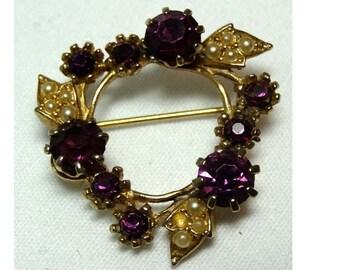 Amethyst Rhinestones in Brass Brooch Apparel & Accessories Jewelry Vintage Jewelry Brooch