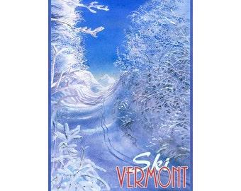 Ski Vermont Travel Poster
