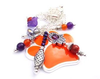 Tiger  Paw Dangle, Silver Chain, Charm Necklace, Orange Glass Beads, Purple Amethyst, Ceramic Bead, Cable Chain, Hamsa, Clemson Jewelry