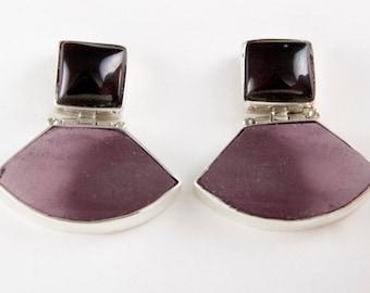 Modern Imperialist Garnet and Imperial Jasper Post Earrings