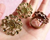 Adjustable Ring Base Blank with 24mm Filigree Pad (5 pcs / Bronze) Filigree Ring Blank Jewelry Findings Jewellery Ring Making Supplies F019