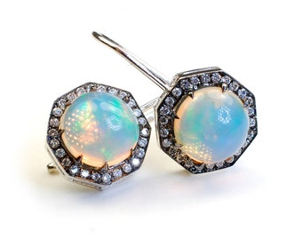 Opal Earrings, Diamond Earrings, Opal Diamond Earrings, Gold Opal Drop Earrings, Vintage Style Opal Earrings, Opal, Diamonds, Octagon, Nixi