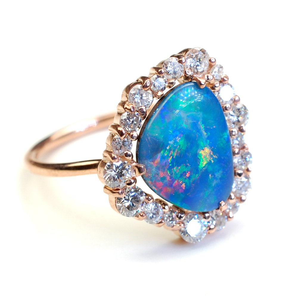 Opal Engagement Rings: R E S E R V E D For R...Diamond Engagement Ring Opal