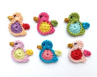 Crochet birds applique - colorful birds decorations - scrapbooking applique - Spring birds decorations - kids party applique - set of 6