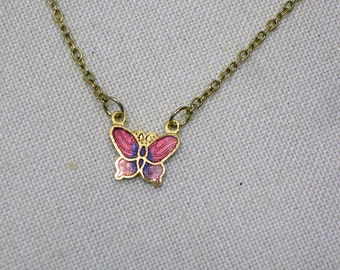 Childs Butterfly Pendant in Dark Mauve Pink and Pink Cloisonne  1960s  NEW OLD STOCK  cSc 350