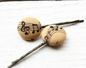 Music Note Hair Pins - Black and Tan