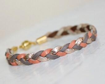 Tri-Color Braided Leather   Bracelet / Grey ,Rose Gold ,Coral Pink