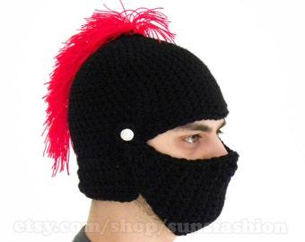 Knight Helmet Hat Crochet Slouch Mens boyfriend gift Handmade Winter Men Snowboard Ski Hat unisex black red