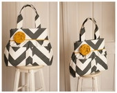 Madisyn Tote in Charcoal Big Chevron MADE TO ORDER