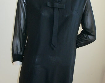50s Vintage black ruffled collar bow detail sheer sleeve cocktail day dress L