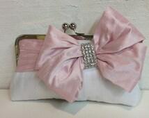 Bridal Bow Clutch, Rhinestone, Wedding Clutch, Pink Purse, Formal Purse, Prom Clutch {Glam'd Up Pretty Kisslock}