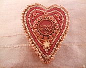 Red and Gold Beaded Heart Brooch / Necklace