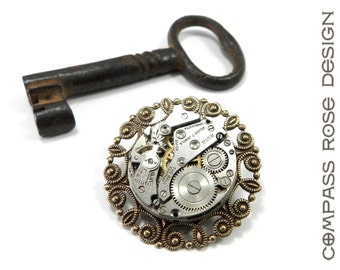 Refined Steampunk Brooch Lapel Pin - Antique Jewel Bearing Watch Movement Pin - Vintage Style