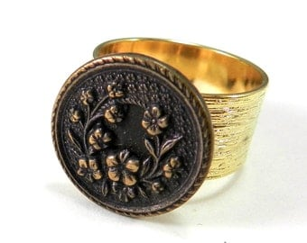 Victorian Button Ring, Antique Button, Vintage & Whimsy Blossom, Vintage Button Jewelry, Gold Plate Etched Band