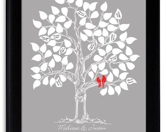 Guest Book Alternative Wedding Tree Poster Unique Guestbook Ideas Custom Guest Book Wedding Tree with Love Birds Silver Red Gray Keepsake