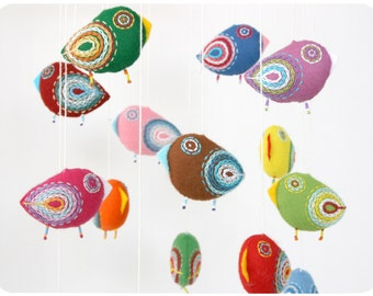 Nursery mobile, baby crib mobile, felt mobile, bird mobile, baby mobile, baby shower, crib mobile - 15 birds Christmas in July celebration