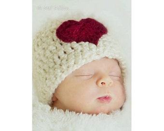 Baby Valentine's Day Hat, Baby Girl Hat, Baby Boy Hat, Heart Hat, Baby Hat, Beautiful Photography Prop