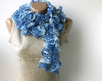 Cobalt blue knit scarf ruffled scarf frilly ink blue spring accessories
