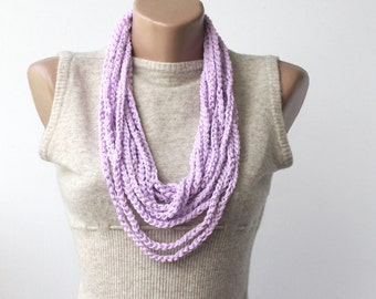 Purple chain necklace infinity scarf necklace crochet scarf skinny scarf multi strand necklace boho jewelry fashion accessories gift for her
