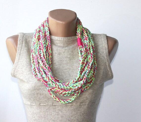 Crochet Summer Scarf Multicolor Vegan Scarf Neon Pink