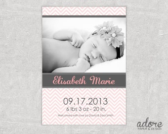 Pink & Grey Chevron Baby Birth Announcement - CHOOSE YOUR COLORS - Printable Digital File.