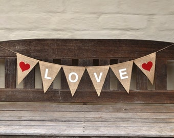 LOVE Banner Hessian Burlap Nursery Baby Children Celebration Wedding Engagement Party Banner Bunting Valentine Decoration