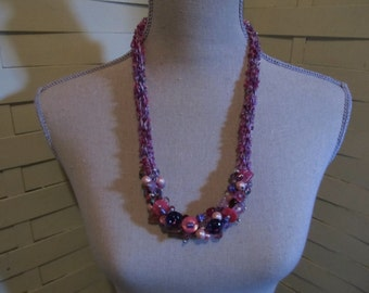 Beaded Icord Necklace.....Pretty in Pink